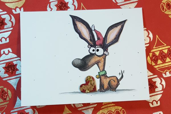 Crazy Dog Christmas Card with Inktense Pencils