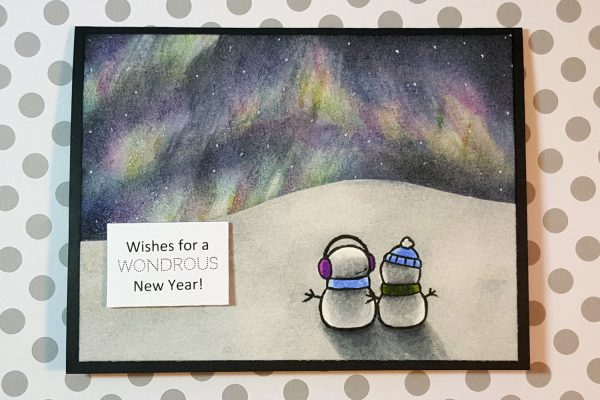Northern Lights New Year's Card with Distress Inks & Spectrum Noir Markers