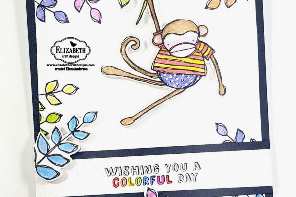 Elizabeth Craft Designs Designers Coloring Challenge - Colorful Monkey Card