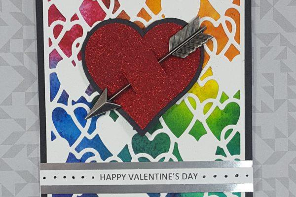 Faux Tie-Dyed Rainbow Valentine with Brusho Powders