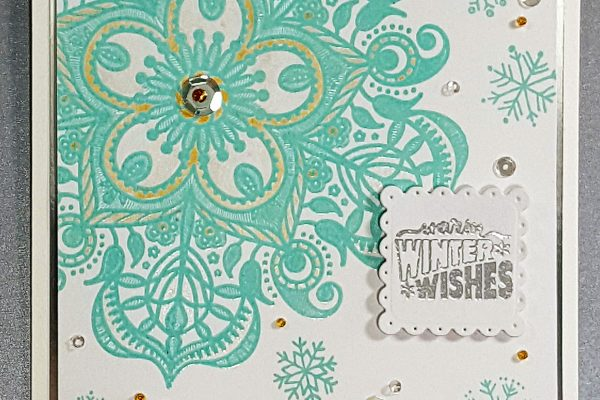Winter Snowflake Card with Simon Says Stamp Background Stamp & Starry Colors