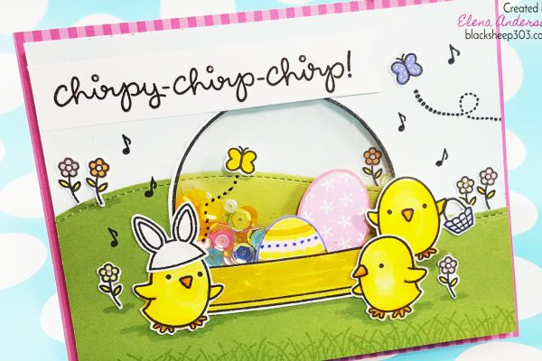 Lawn Fawn Chirpy Chirp Chirp Shaker Easter Card