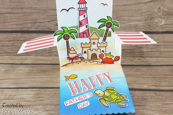 Father's Day Lighthouse Box Card Pop-Up with Lawn Fawn