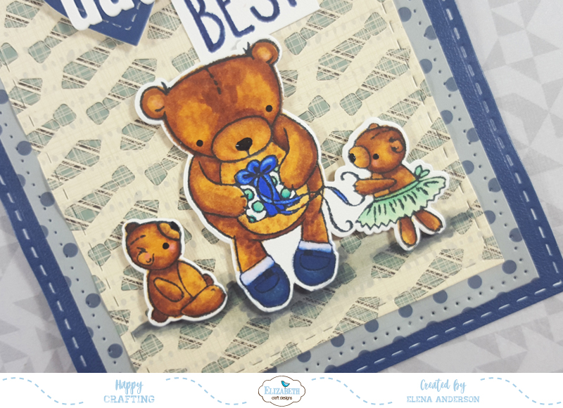Teddy Bear Father's Day Card for Elizabeth Craft Designs - Detail