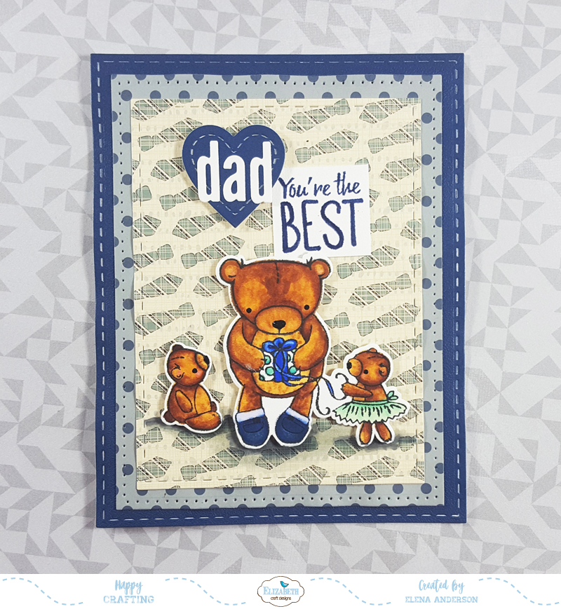 Teddy Bear Father's Day Card for Elizabeth Craft Designs