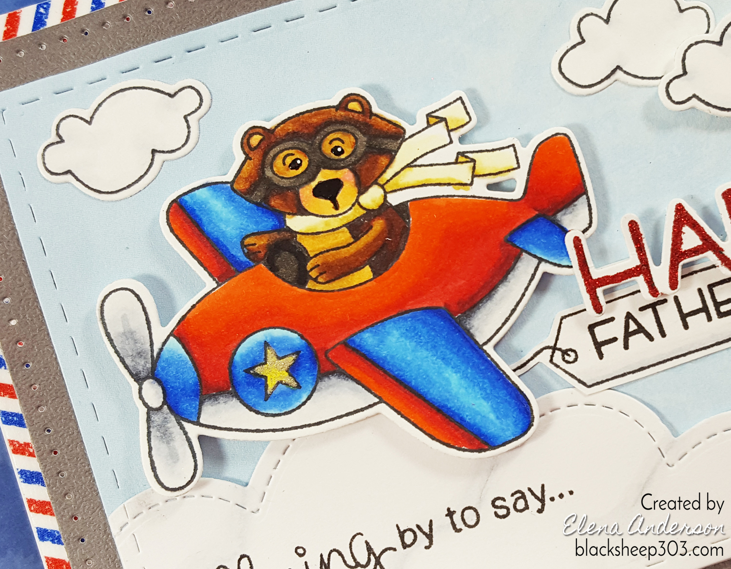 Winston Takes Flight Father's Day Card - Detail