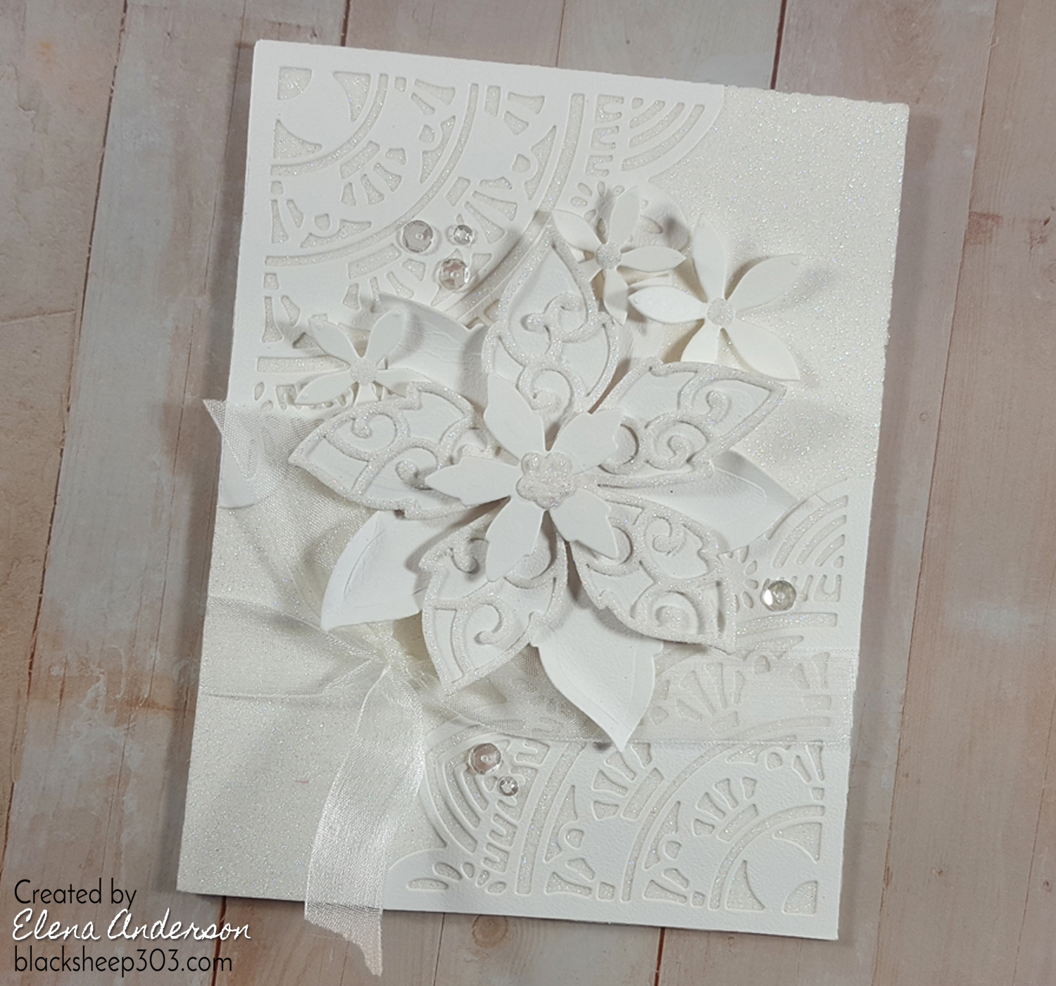 Super Sparkly White-On-White Floral Card