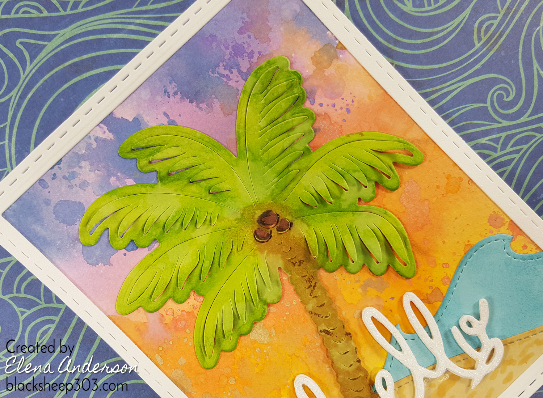 Tropical Distress Oxide Sunset Card - Detail