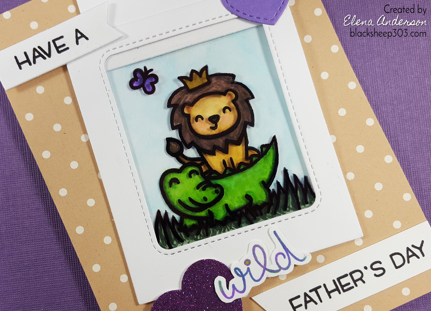 Wild Magic Slider Card with Lawn Fawn & Zig Markers - Detail