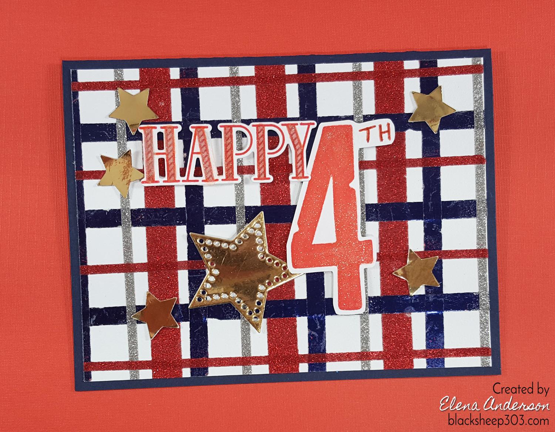 Happy 4th Quick & Easy Plaid Glitter Card