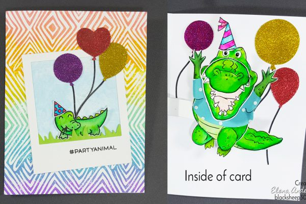 Colorful Birthday Crocodile PopCard