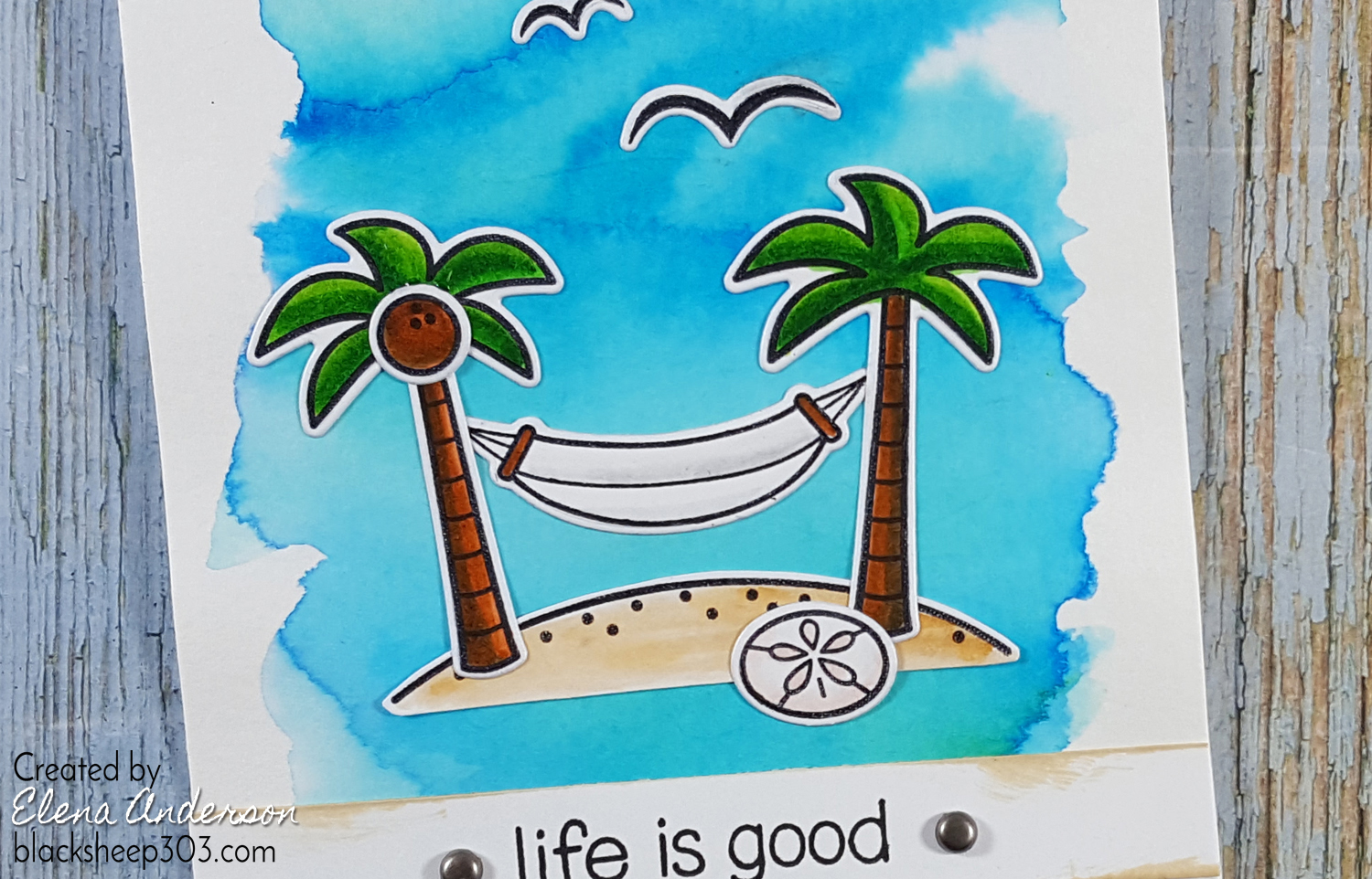 Life is Good Card with Lawn Fawn, Brushos & Zigs - Detail