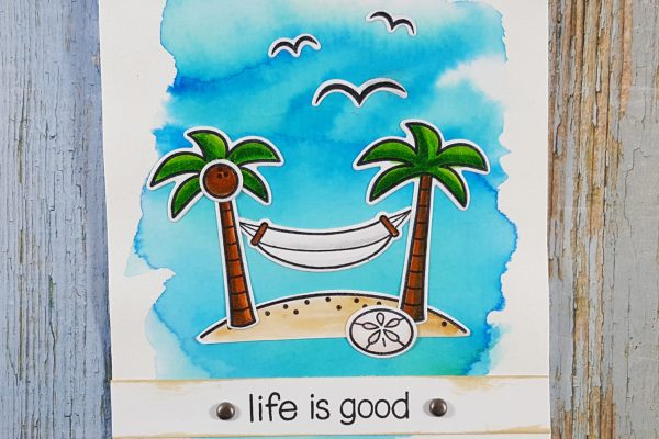 Life is Good Card with Lawn Fawn, Brushos & Zigs
