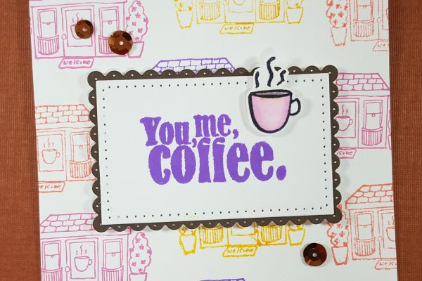 You, Me, Coffee Card with Elizabeth Craft Designs & Distress Oxides