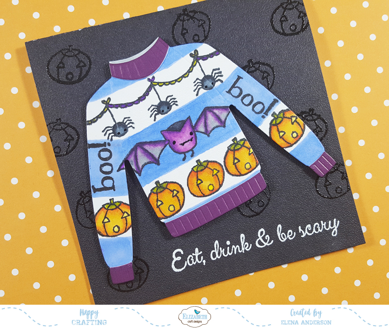 Ugly Halloween Sweater Card for Elizabeth Craft Designs Blog Hop