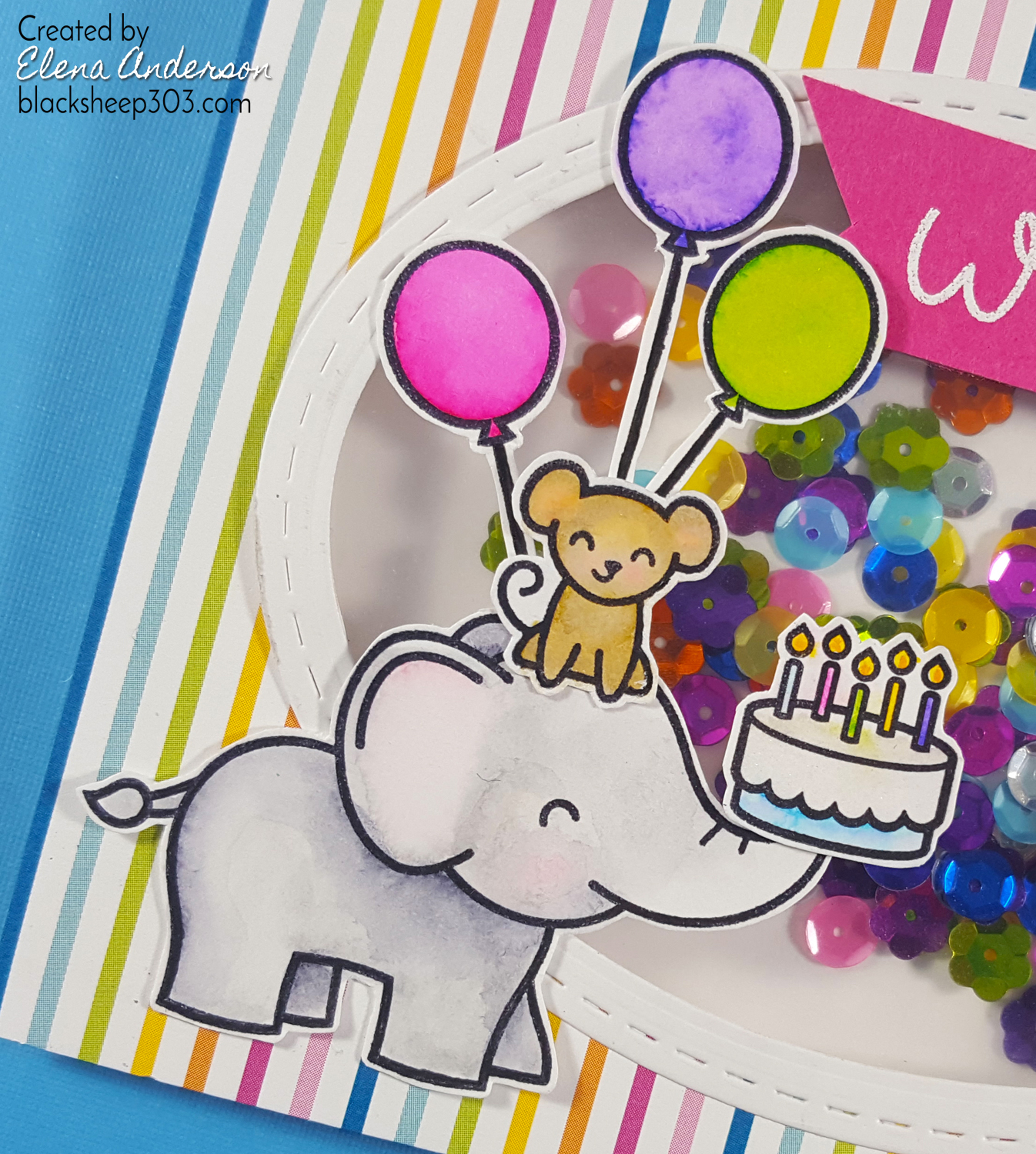 Lawn Fawn Colorful Shaker Birthday Card - Detail