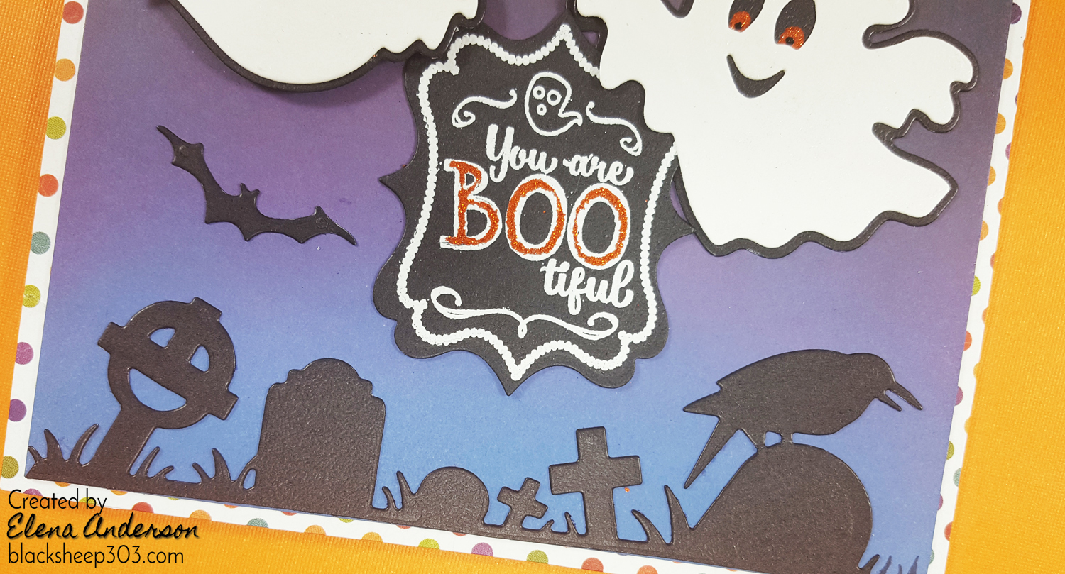 Boo-tiful Halloween Ghosts Card with Elizabeth Craft Designs & Distress Oxides - Detail