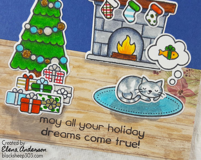 Lawn Fawn Christmas Dreams Window Card - Cat Detail