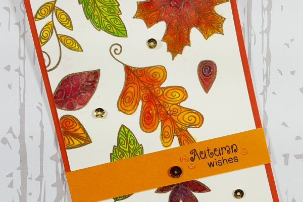 Watercolor Falling Leaves Card with Newton's Nook