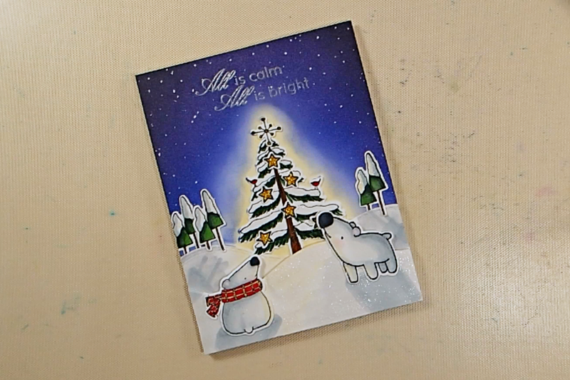 Peaceful Night Christmas Card - Step 7