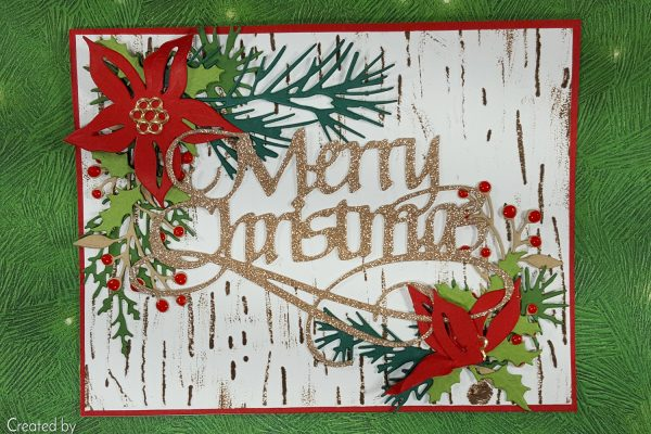 Festive Foliage Christmas Card with Tim Holtz Sizzix Dies