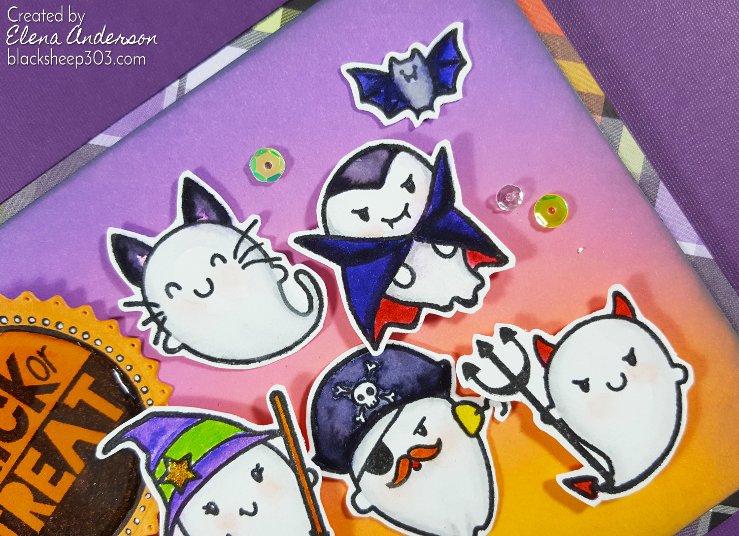 Trick or Treat Halloween Ghost Card with The Greeting Farm - Detail