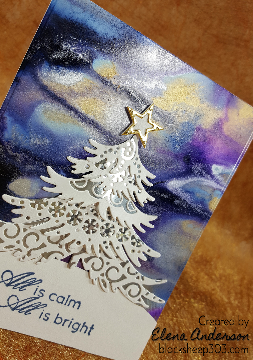 Northern Lights-ish Card with Alcohol Inks & Elizabeth Craft Designs - Detail