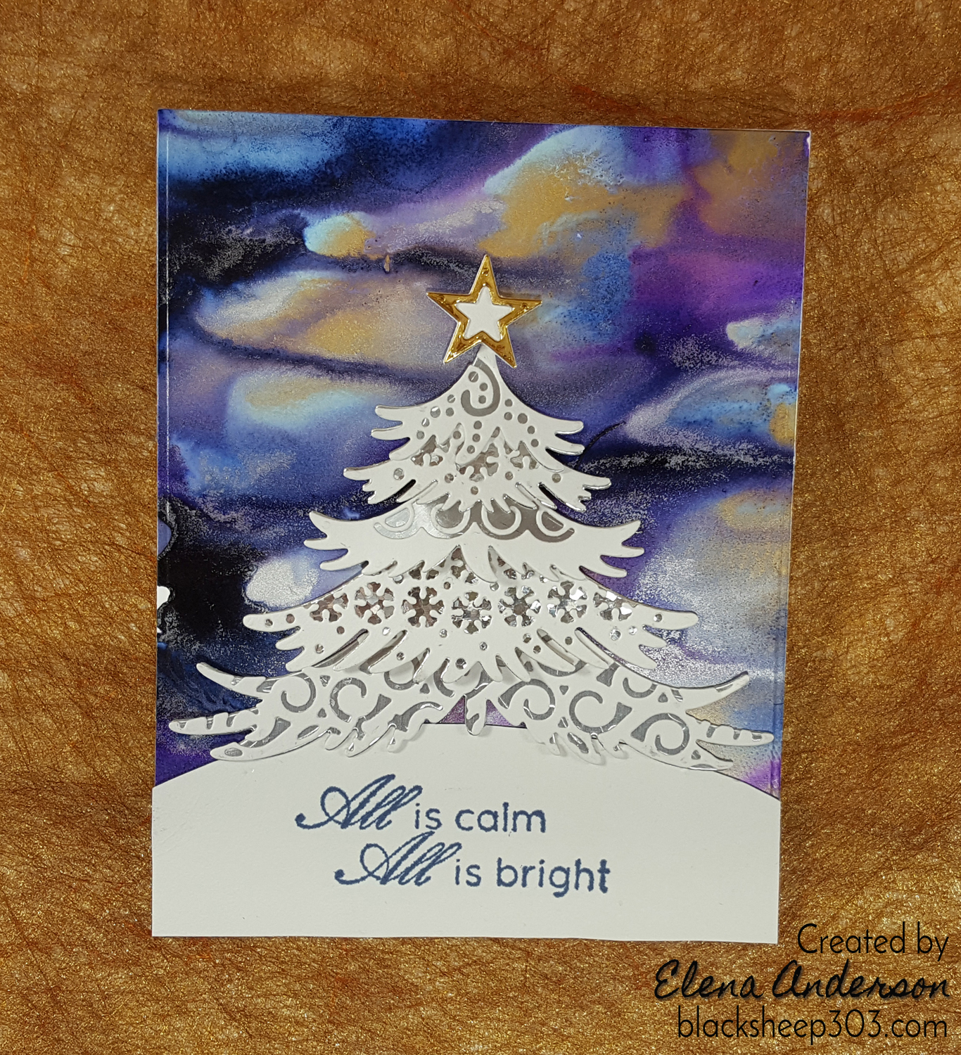 Northern Lights-ish Card with Alcohol Inks & Elizabeth Craft Designs