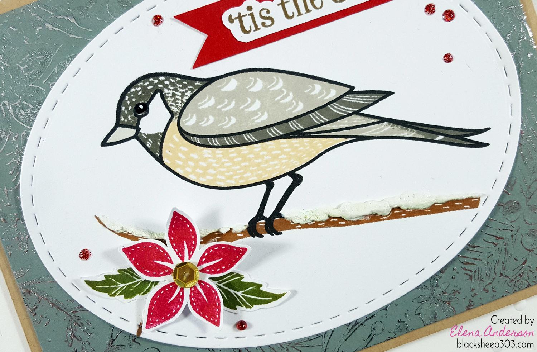 Christmas Chickadee Card with Hero Arts & DecoFoil - Detail