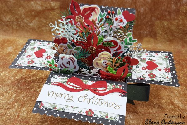 Christmas Floral Bouquet Pop-Up Box Card with Time Holtz & Lawn Fawn
