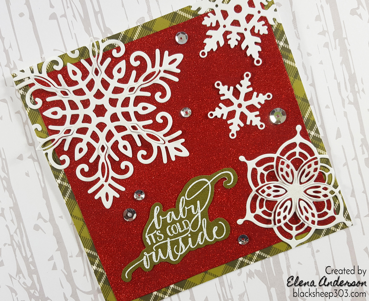 Christmas Snowflakes Card with Elizabeth Craft Designs