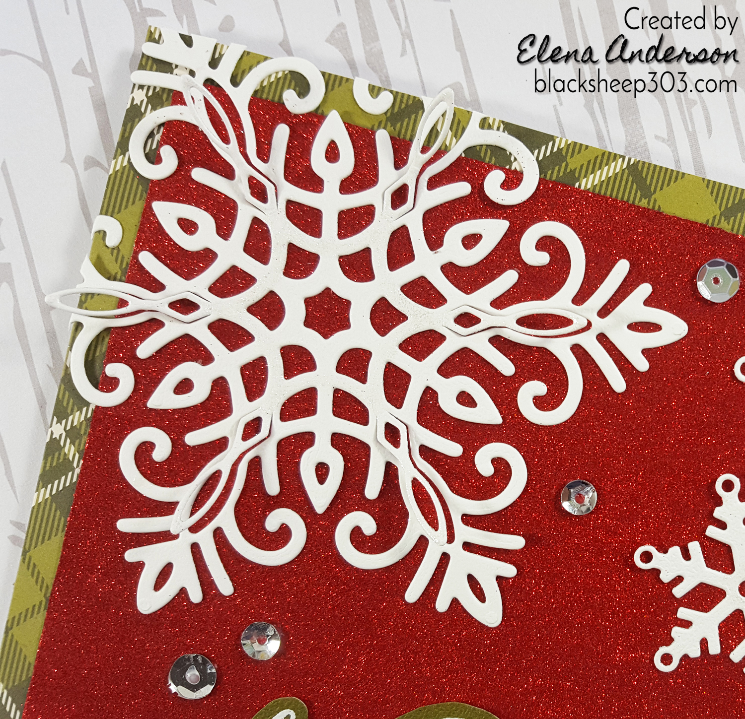 Christmas Snowflakes Card with Elizabeth Craft Designs - Detail