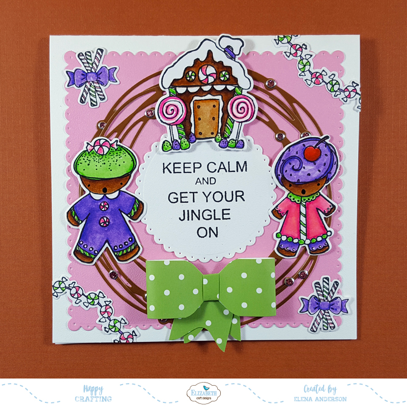Gingerbread Christmas Wreath Card for Elizabeth Craft Designs