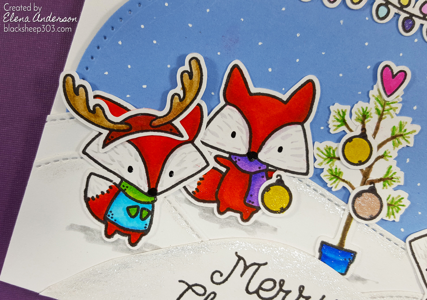 Oh What Fun Christmas Critter Card with The Greeting Farm & Zig Clean Color Real Brush Markers - Detail