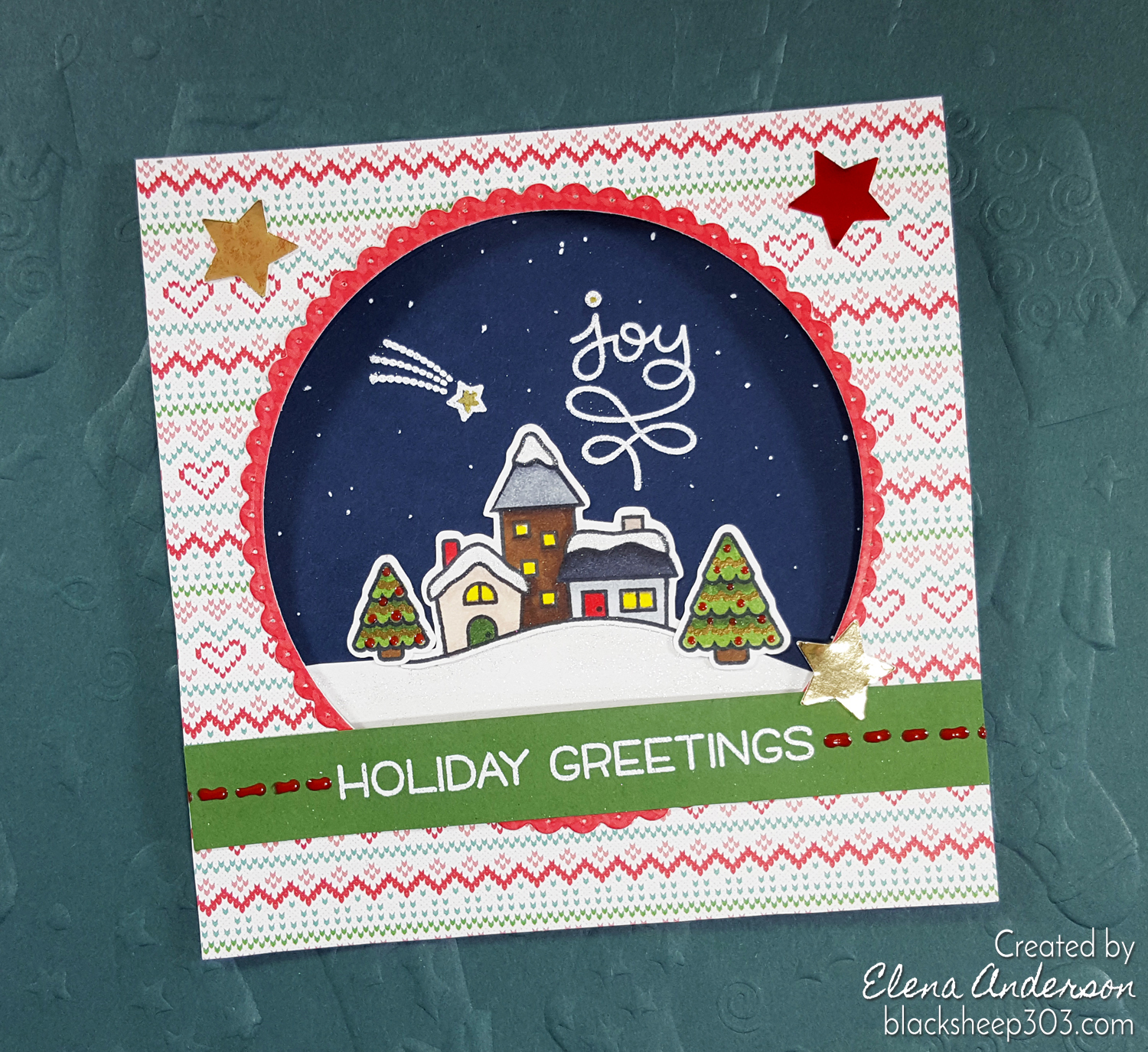 Lawn Fawn Winter Village Holiday Card