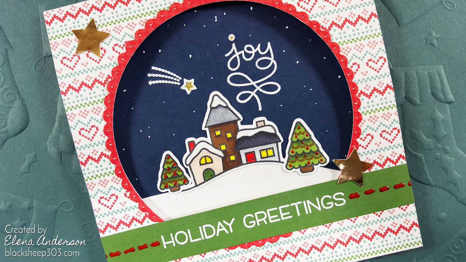 Lawn Fawn Winter Village Holiday Card - Detail
