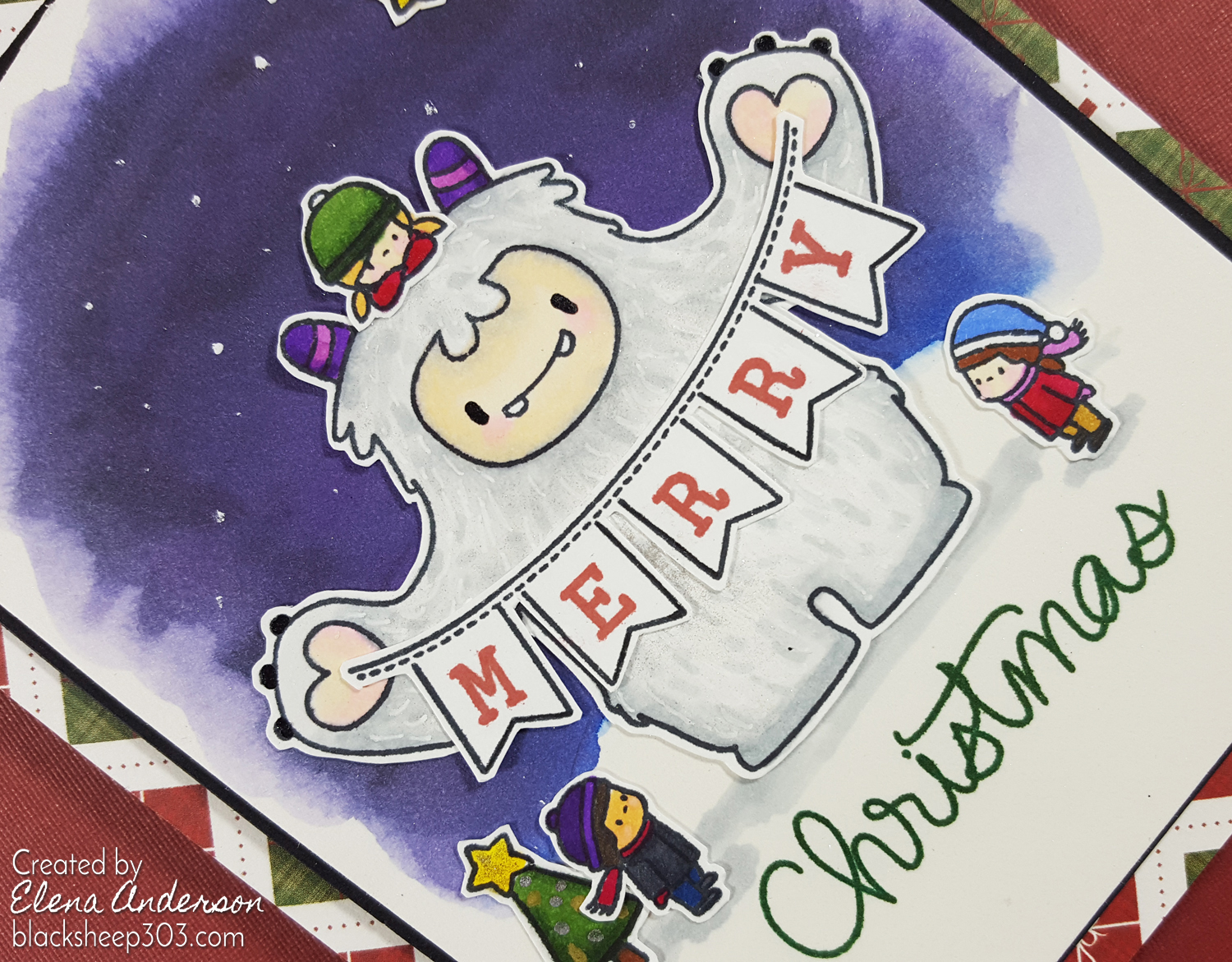 Yeti Merry Christmas Card with Mama Elephant & Spectrum Noirs - Detail