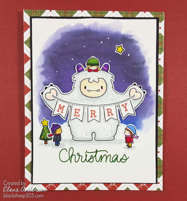 Yeti Merry Christmas Card with Mama Elephant & Spectrum Noirs