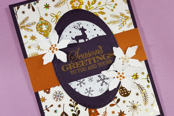 Purple & Gold Foil Christmas Card with Gina K Designs & Therm O Web