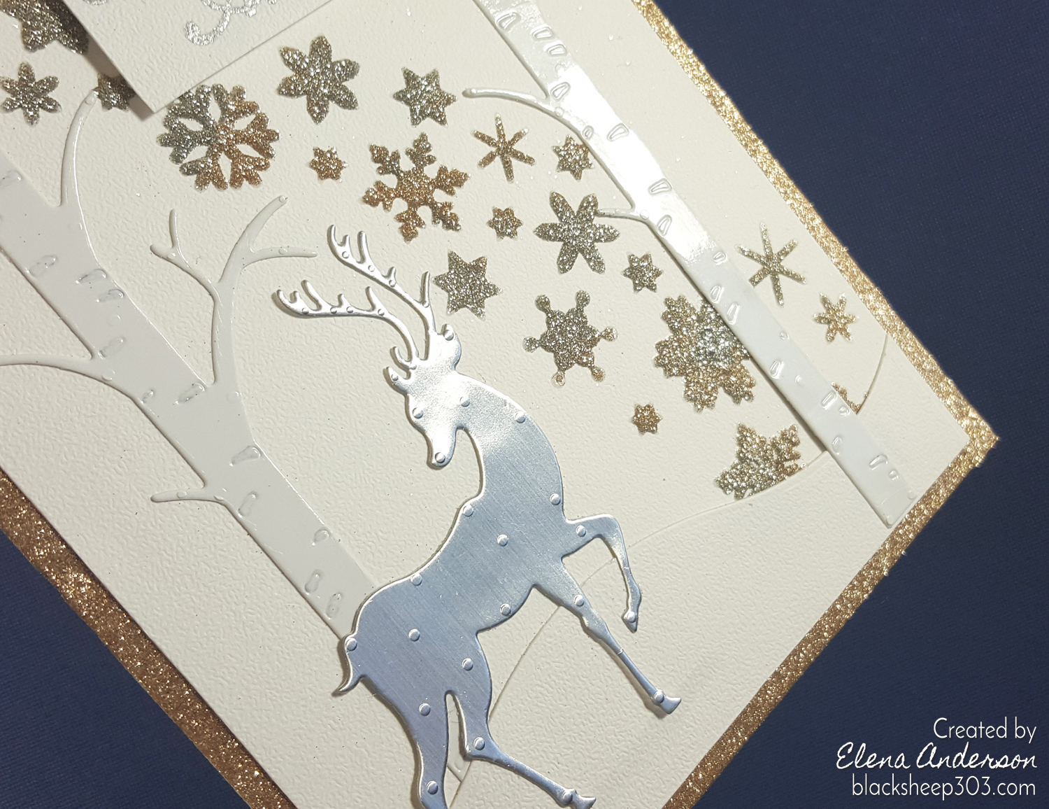 Silver & Gold Reindeer Card with Elizabeth Craft Designs - Detail
