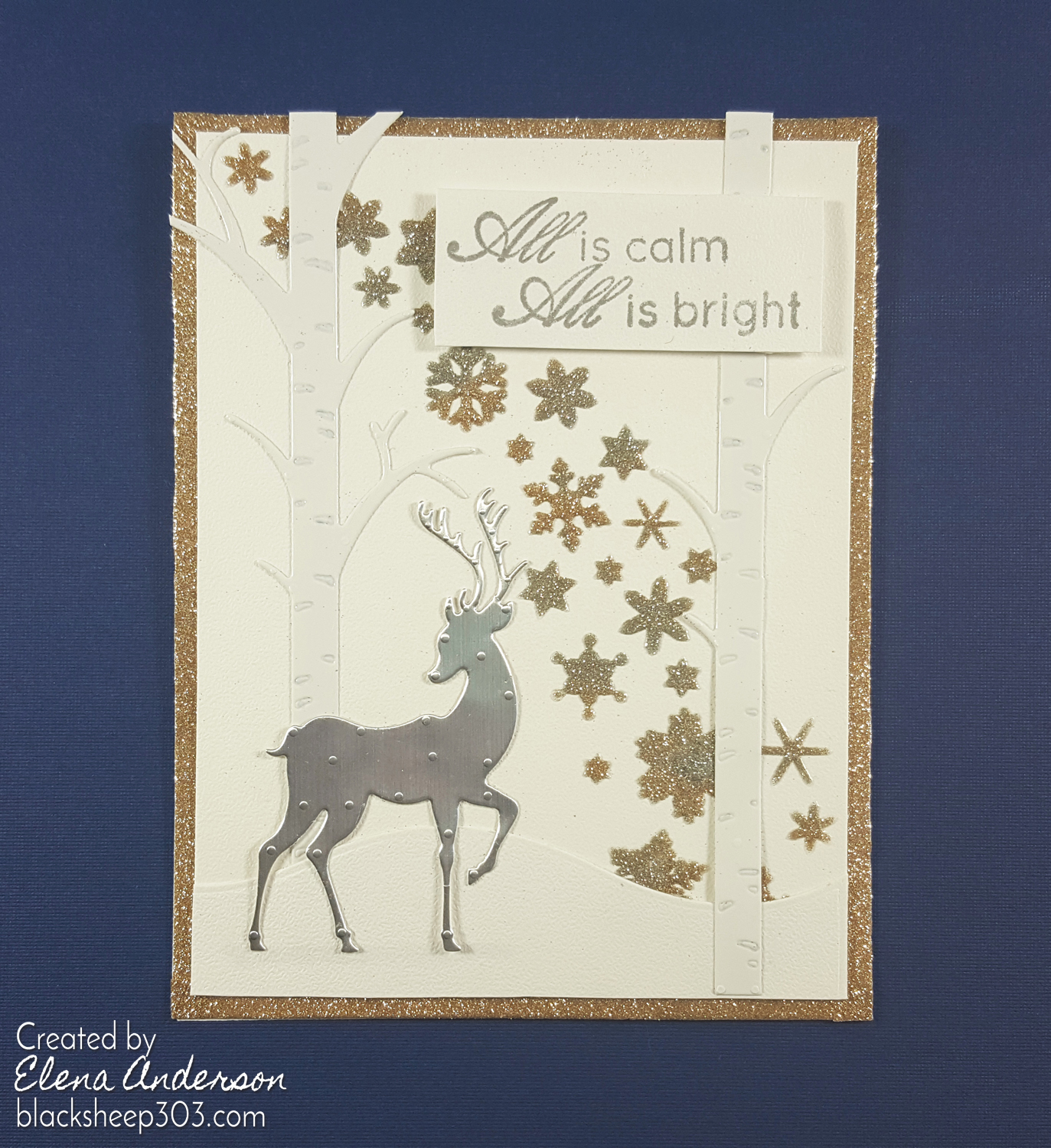 Silver & Gold Reindeer Card with Elizabeth Craft Designs