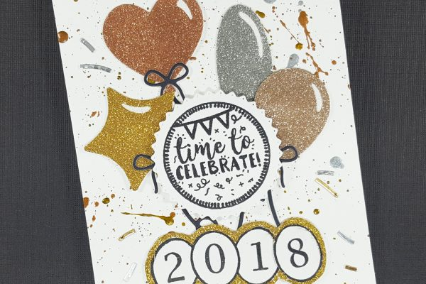 Celebrate 2018 New Year's Card with Elizabeth Craft Designs