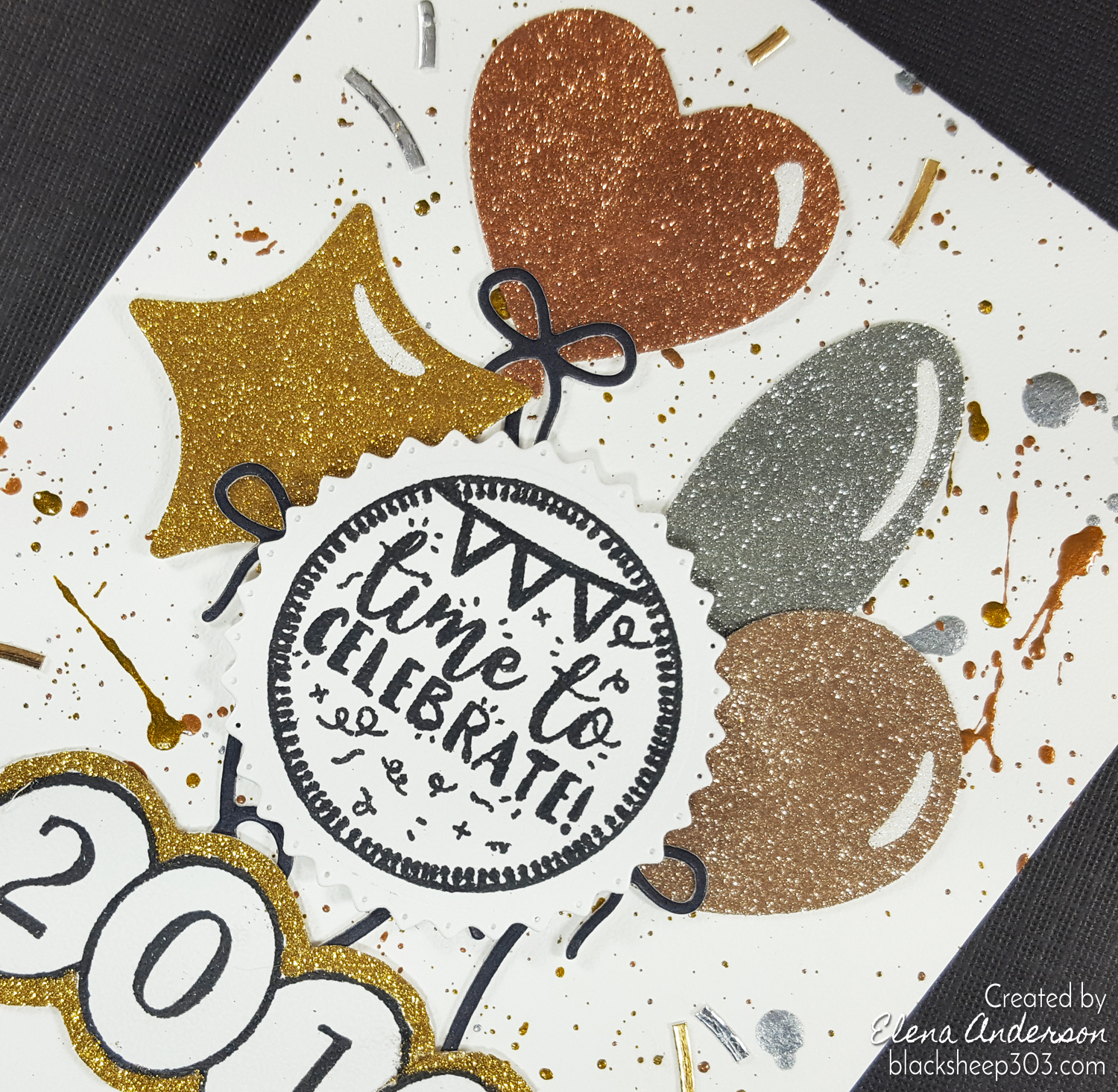 Celebrate 2018 New Year's Card with Elizabeth Craft Designs - Detail