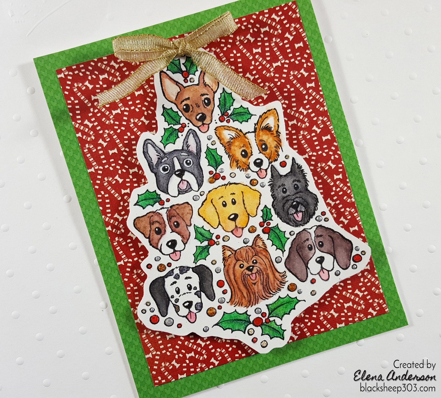 Dog Christmas Tree Card with Inktense Pencils
