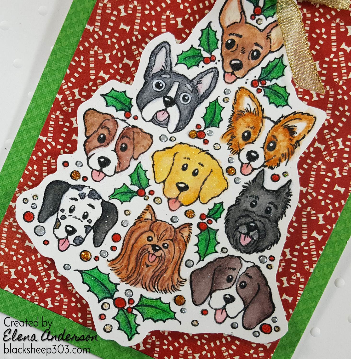 Dog Christmas Tree Card with Inktense Pencils - Detail