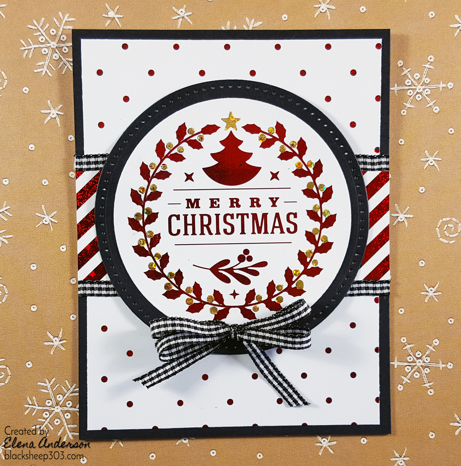 easy red black christmas card with gina k designs therm o web