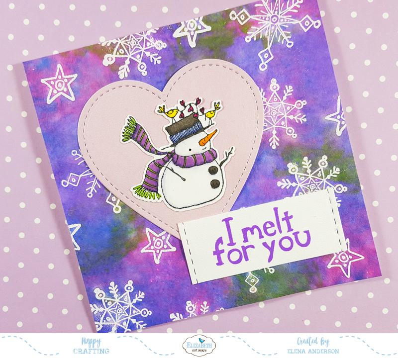 Snowflake & Distress Ink Love Card