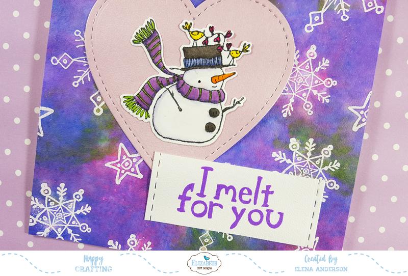 Snowflake & Distress Ink Love Card - Detail
