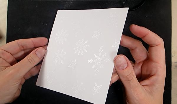 Stamped Snowflake Background Card - Step 1