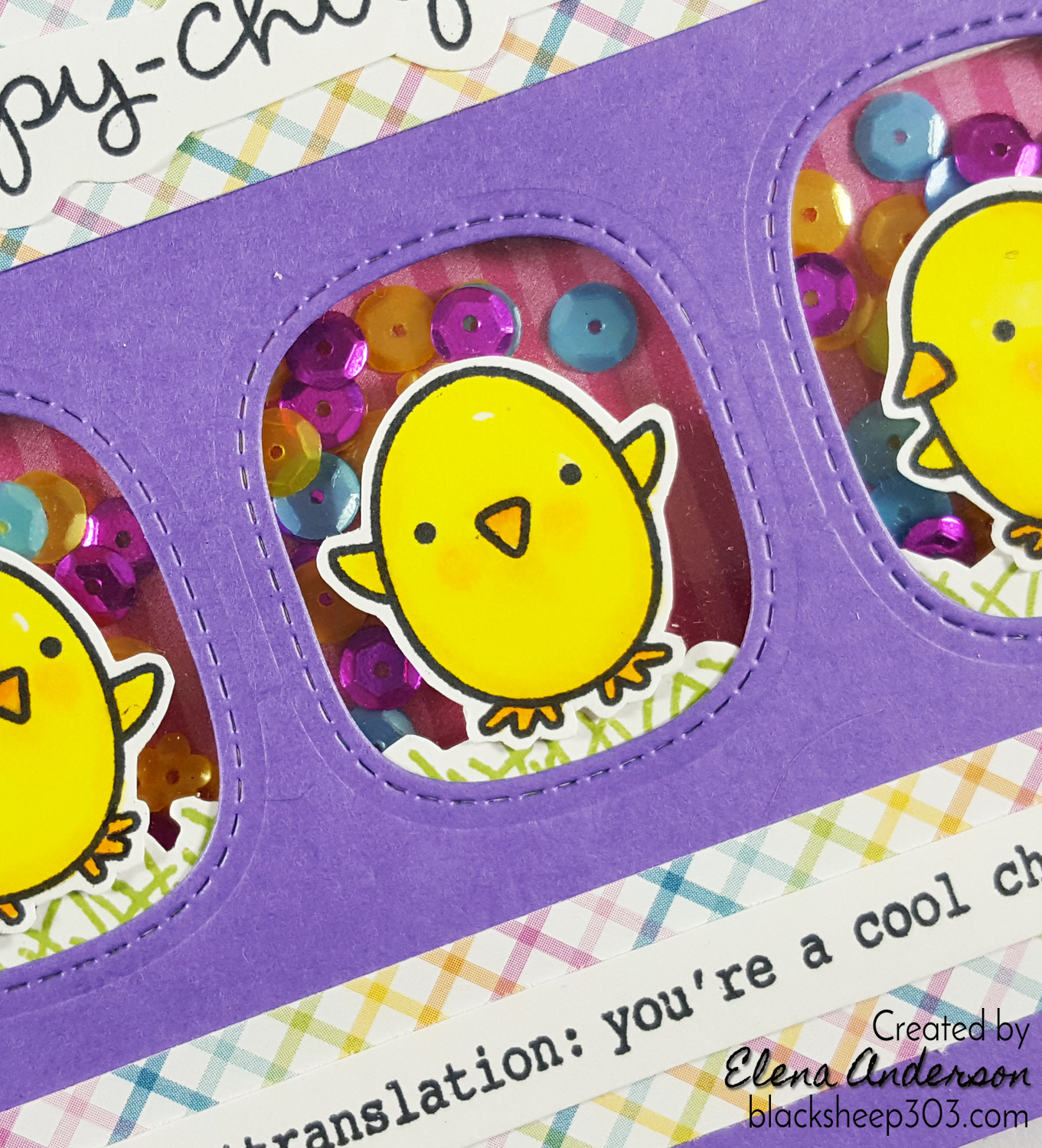 Crazy 4 Challenges Bird Card with Lawn Fawn - Detail